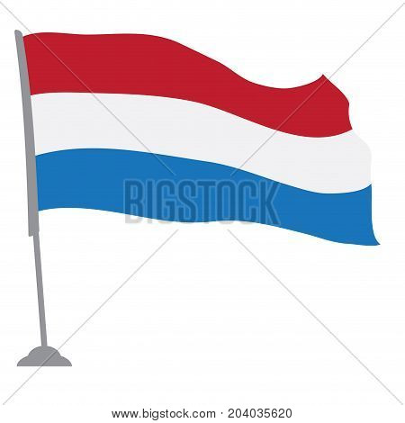 Isolated flag of the Netherlands on a pole, Vector illustration
