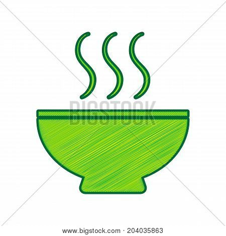 Soup sign. Vector. Lemon scribble icon on white background. Isolated