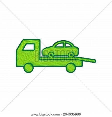 Tow car evacuation sign. Vector. Lemon scribble icon on white background. Isolated