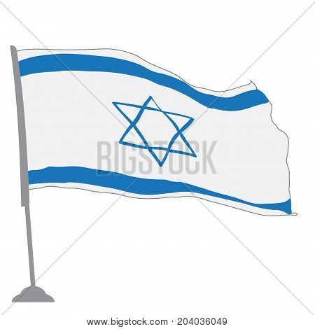Isolated flag of Israel on a pole, Vector illustration