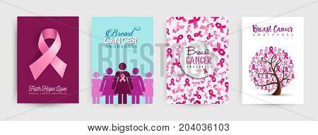 Breast Cancer Awareness Pink Ribbon Poster Set