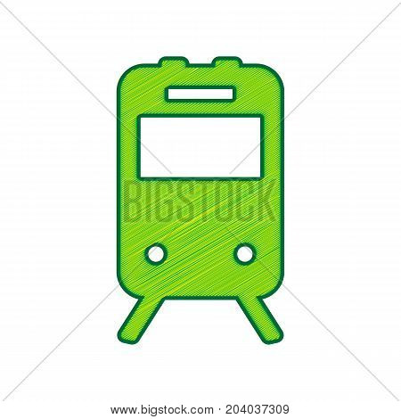 Train sign. Vector. Lemon scribble icon on white background. Isolated