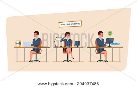 Businesswoman in office work situations concept. Work with documents, archives, projects. Womens character working in office at the work desk. Front and side views. Cartoon vector illustration