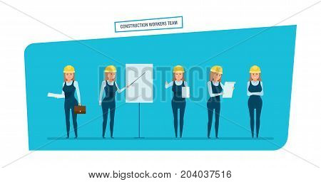 Construction engineers workers team. Engineers character person cartoon set with construction workers team, builder, architect, in different poses. Management, strategic planning. Vector illustration.