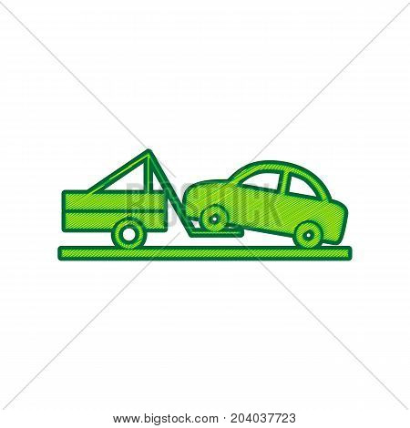 Tow truck sign. Vector. Lemon scribble icon on white background. Isolated