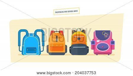 Backpacks and school bags concept. Education and study, school bag luggage, backpacks with school supplies. Student satchels collection. Vector illustration isolated.
