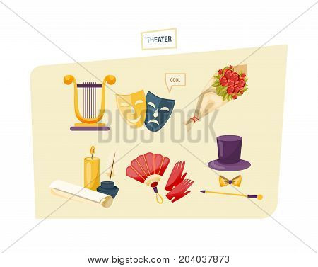 Concept of theater. Set of theatrical performance icons. Equipment, belongings, masks, theater building, clothing attributes. Modern vector illustration isolated.