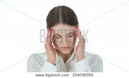 Frustrated Tense Businesswoman, Headache Isolated On White Background
