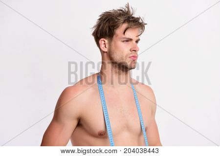 Athlete With Proud Face Measures Nude Body