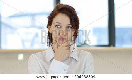Pensive Woman, Brainstorming In Office At Work