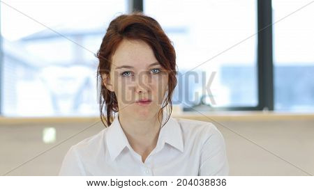 Angry Woman In Office, Unhappy  At Work
