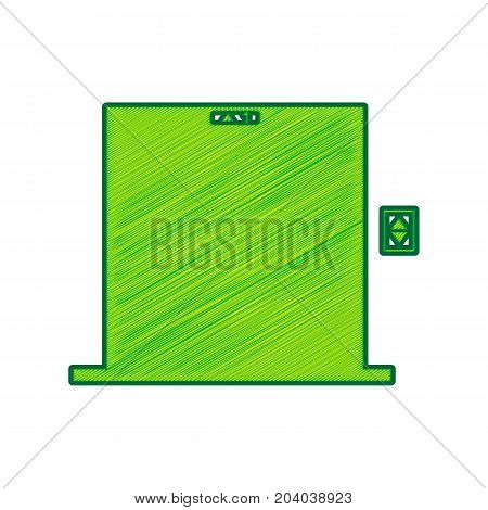 Elevators door sign. Vector. Lemon scribble icon on white background. Isolated