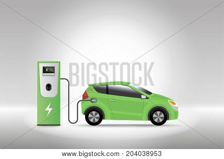 Electric Car Charging At Charger Service Station With Grey Background. Hybrid Vehicle, Eco Friendly