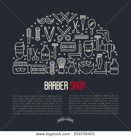 Monochrome barber shop concept with thin line icons of shaving accessories. Vector illustration for web page, banner, print media.