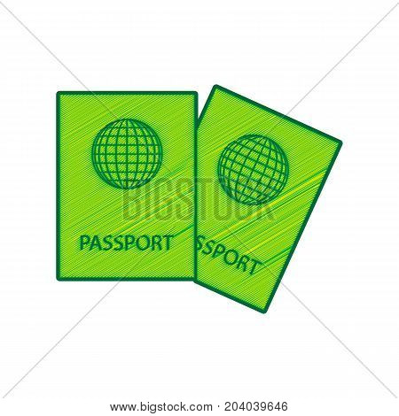 Two passports sign illustration. Vector. Lemon scribble icon on white background. Isolated