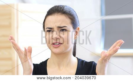 Angry Woman Reacting Tosituation, Aggressive At Work