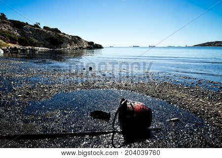Oil, Leaked From A Sinked Ship, Come Ashore In Salamina Island Near Athens, After An Old Tanker Sank
