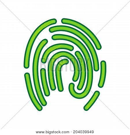 Fingerprint sign illustration. Vector. Lemon scribble icon on white background. Isolated