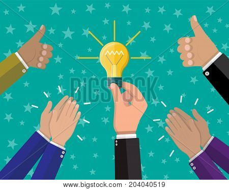 Businessman hand holding idea bulb and another hands hold thumbs up. Human hands clapping. Concept of creative idea or inspiration. Glass bulb with spiral in hand in flat style. Vector illustration