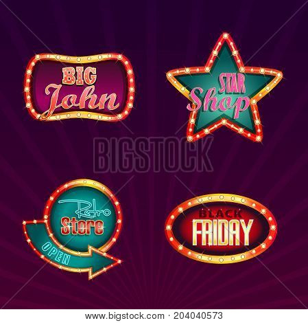 Shining isolated signboards for shopping sell and black friday advertising, sale or trade at shop or store. Illuminated or glowing electric billboards or signs for entrance. Commercial and trading theme