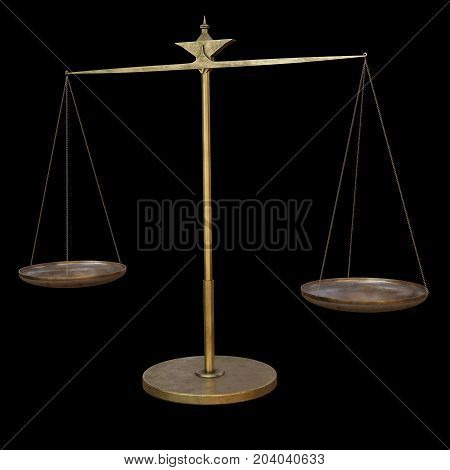 Fantasy illustration of a set of brass scales for alchemy experiments isolated on black background, digital illustration (3d rendering)