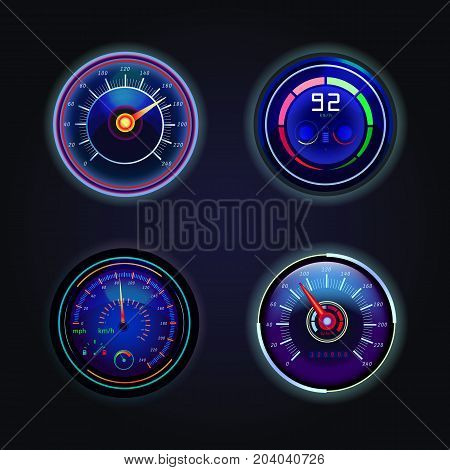 Set of isolated speedometers with fuel sign, tachometer and battery charge. Automobile dashboard gauges with arrows showing speed in km h. Motorbike or motorcycle speed indicator, counter. Racing theme