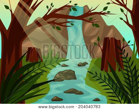 Mountain or hill with waterfall falling into river or stream with rocks behind trees with leaves. Stump or stub, stock on meadow at riverside. Nature scenic landscape, wild outdoor environment, flora