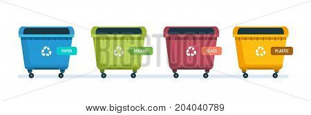 Containers for garbage of different types. Urns for paper products, food waste, glass and plastic waste. Vector illustration isolated on white background.