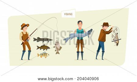 Fishing concept. People catch fish: fishing on fishing rod of different kinds of fish, demonstration of high results, storage in a fishing net. Illustration isolated in cartoon style.