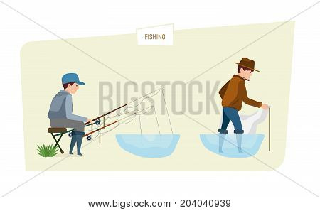 Fishing concept. People fishermans fishing fish on fishing rod and net, taking a great interest in their favorite business and hobby. Illustration isolated in cartoon style.