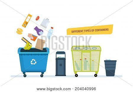Different types of containers concept. Urns for food waste, paper products, plastic waste. Vector illustration isolated on white background.
