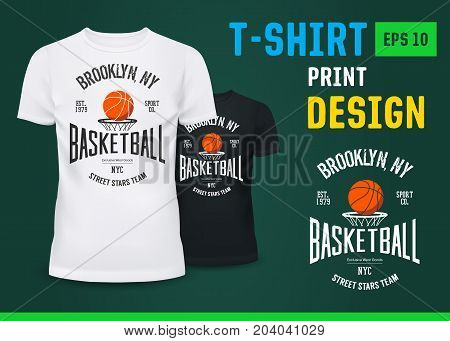 Streetball sign on u-neck t-shirt. Men or male clothing with badge of New york sport team. Shirt with print for urban sport. Fashion and branding, advertising, varsity and clothing, ads theme