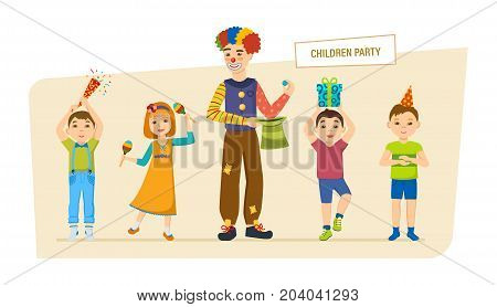 Children's party. Small happy children, have fun, play, spend time with a clown animator, blow up fireworks, give gifts. Birthday celebration. Illustration in cartoon style.