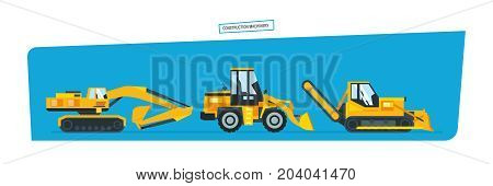 Construction machinery concept. Set construction machines, trucks, vehicles for transportation, asphalt. Vector illustration isolated on white background.