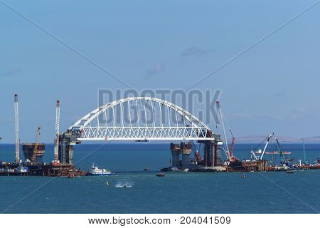 Construction Of Road And Railway Bridges Across The Kerch Strait. The Arched Span Of The Railway Bri