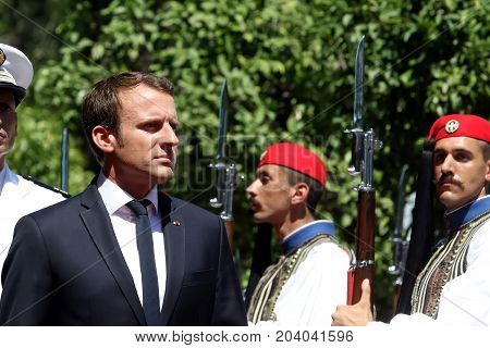 French President Emmanuel Macron With His Wife Brigitte Tronier In Greece