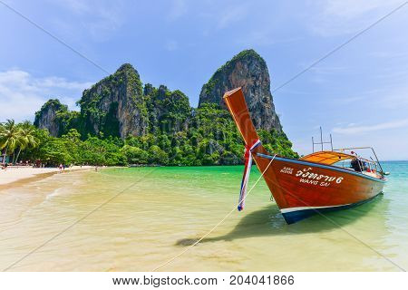 Krabi, Thailand - May 2, 2014 : Boat Waiting For Tourists To Leave The Railay Beach. Krabi Province,