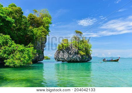 Krabi, Thailand - April 30, 2014 : Tourists Snorkeling In A Tropical Clear Sea At Koh Pak Bia Island