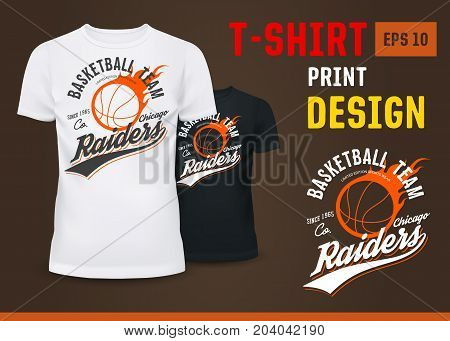 T-shirt with usa raiders basketball team sign for man or male. U-neck white and black t-shirts with flying ball in fire. Branding and advertising, sport, activity and clothing, fashion theme
