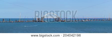 Panorama Of Construction Of Road And Rail Bridges Across The Kerch Strait. The Arched Span Of The Ra
