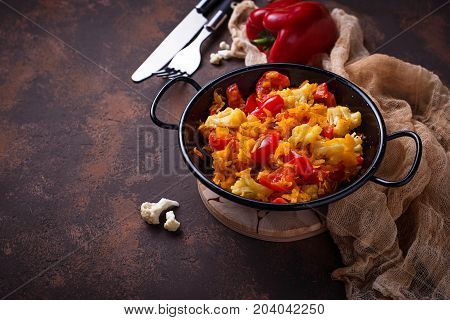 Stew vegetable in a pan. Selective focus