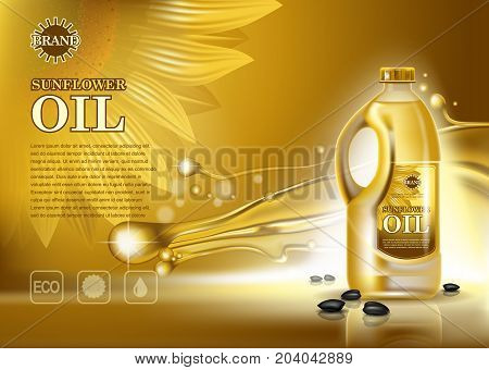 Plastic container or bottle with sunflower oil and seeds. Food and cooking vegetarian ingredient branding, healthy vegan nutrition advertising. Kitchen and organic cooking, natural food branding theme
