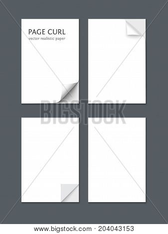 White sheet of paper isolated on dark gray background. A4 format paper design vector with space for text and curl curved corners
