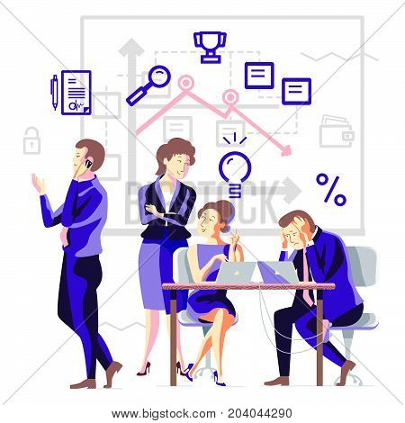 Business process in a team. Business people solve problems. Business solution for web design or applications. Concept vector illustration.
