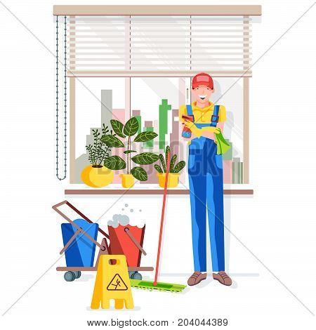 Office cleaning. A worker in gloves holds a spray gun and a rag. The worker is standing by the window. Vector illustration in a flat style.