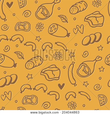 Hand drawn background with cute illustration of meat products: ham wurst meatball. Funny vector motif for wrapping and packaging of food