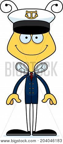 Cartoon Smiling Boat Captain Bee