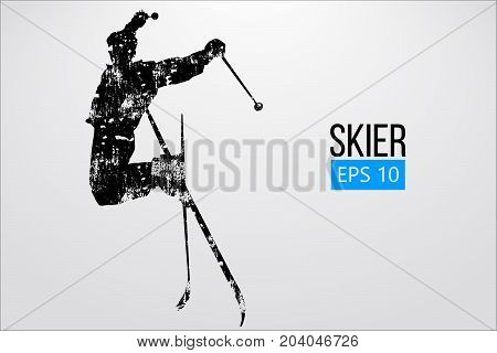 Silhouette of a skier jumping isolated. Background and text on a separate layer, color can be changed in one click. Vector illustration
