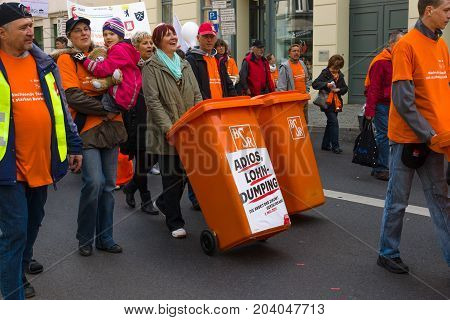 BERLIN - MAY 01 2015: International Labour Day. Workers Berliner Service Recycle (BSR) at the demonstration.