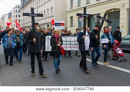 BERLIN - MAY 01 2015: International Labour Day. Former employees of bankrupt companies Karstadt at the demonstration.